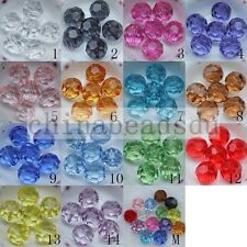 Wholesale 4-20MM 32 Faceted Acrylic Crystal Round Loose Beads For Jewelry Making