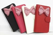 3D Bowknot Bling Diamond Flip Leather Wallet Pouch Case Cover for Nokia phones