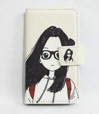 Cartoon Glasses Girl Flip Leather Card slot Wallet Case Cover For SONY Phones
