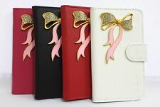 Bowknot Crystal Diamond Flip Pouch Leather Card Wallet Case Cover for SONY Phone