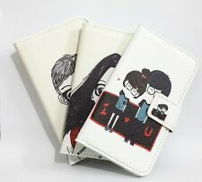 Cartoon Glasses Lovers Leather Card slot Wallet Flip Cover Case For SONY Phones