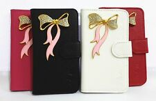 Bling Crystal Diamond Bowknot Flip Leather Card Wallet Cover Case for SONY Phone