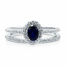925 Silver 0.5CT OVAL CZ CREATED SAPPHIRE 2PC WEDDING RING SET MICRO PAVE SET