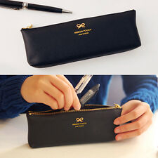 So cool real Ribbon Decoration Black Pencil Case cute Pen Bag Synthetic Leather