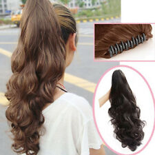 One Piece Womens Long Wavy Curly Ponytail Hairpiece Hair Extensions Claw Clip in