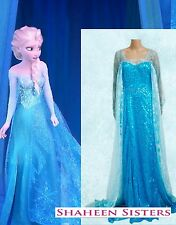 Frozen Disney Elsa Queen Fancy Dress Blue Costume Adult Sexy Wig Cosplay Gown M