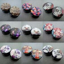 Hot 10 Items Punk & Retro Colorful Pattern Screw Acrylic Flesh Tunnels Ear Plugs