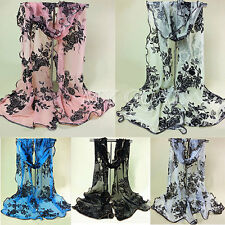 Fashion Women Ladies Lace Chiffon Long Scarf Soft Wrap Voile Flower Shawl Stole