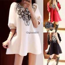 Vintage Women Fashion Casual Embroidery Floral Flower Cocktail Party Dress