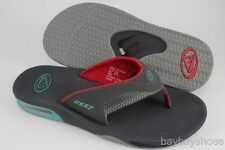 REEF FANNING LUMO GRAY/TURQUOISE BLUE/RED FLIP FLOP THONG SANDALS BEACH MEN SIZE