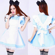 Hot Alice in Wonderland anime cosplay costume lolita dresses maid outfit Blue