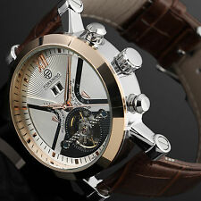 Mens Luxury Tourbillon Leather Man Men's Automatic Mechanical Sport Wrist Watch