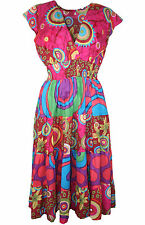Ladies K & D London V Neck Plunge GORGEOUS Abstract Summer Tea Dress Sizes 10-14