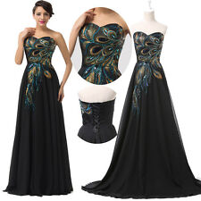 2014 Applique peacock Long Prom evening Bridesmaid party Ball Gown/Evening Dress
