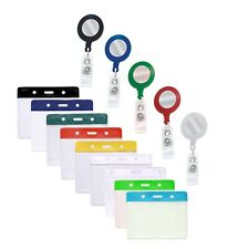 ID Badge Reel & Flexible Id Card Holder Pocket - Free P&P