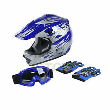 DOT Youth Blue Flame Dirt Bike ATV MX Motocross Helmet Goggles+gloves S M L Hot