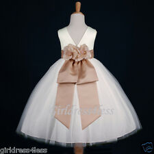 IVORY/CHAMPAGNE WEDDING FLOWER GIRL DRESS 12M-18M 2/2T 3/4 5/6 7/8 9/10 11/12
