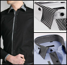 Mens Casual Double Collar Slim Fit Formal Shirt Italian Design Long Sleeve DC10