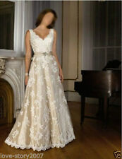 New White/Ivory Lace Bridal Wedding Dresses Gowns Size:4 6 8 10 12 14 16 18 20