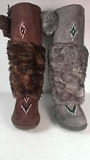 Brand New Knee High Womens Mukluks with Two Poms and Faux Fur