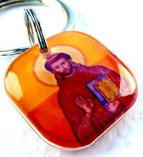 St. Francis of Assisi Orange Red square dog cat custom charm pet tag by ID4PET