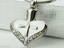 Heart w Cross Urn Cremation Pendant Necklace Keepsake Jewelry Ash Holder +Funnel