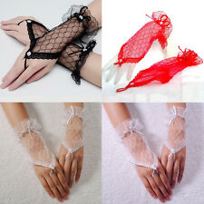 Chic Sexy Lace Wrist Fingerless Wedding Evening Party Bridal Short Gloves Dress