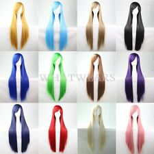 80cm Long Silky Straight Cosplay Fashion Wig heat resistant Full Wigs DUK