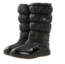New Women Winter Snow Boots Patent Leather Platform Pleated Waterproof Shoes