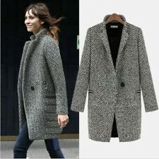 2014 New Women Long Winter Large Lapel Wool Cashmere Parka Coat Trench Outwear