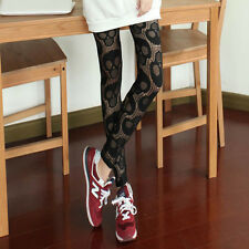 HOT SALE Hollowed Skull Head Pattern Skinny Leggings Stretchy Pencil Tights Pant
