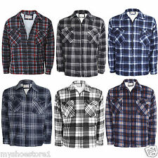 NEW MENS ADULTS PADDED WORK SHIRT FUR LINED QUILTED LUMBERJACK FLANNEL WARM TOP