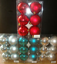 Decoris 6 x Shatterproof Round Christmas/Xmas Tree Baubles/Decorations, 80mm,