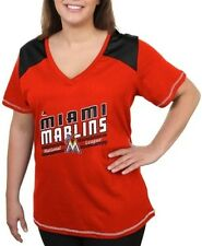 Miami Marlins Women's Majestic Superior Speed V Neck Fashion Shirt Plus Sizes