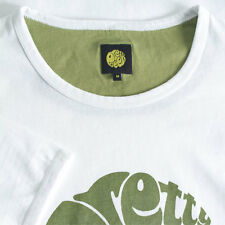MENS PRETTY GREEN WHITE T SHIRT RETRO GREEN PRINT S, M, L, XL, XXL BNWT
