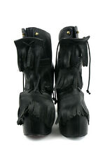 IRREGULAR CHOICE CARNABY BOND BLACK LEATHER BOOTS