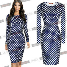 Women's Fashion Bussiness Polka Dot Long Sleeve Bodycon Pencil Tea Party Dresses