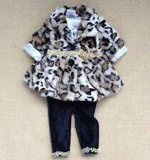 3pcs Infant Baby Girl's Winter Warn Leopard  Coat+Shirt+Pant Outfit 3-24Month