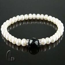 Chic White Genuine pearls&Faceted Black Natural Onyx Bracelet AU SELLER 020261
