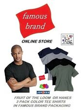 FRUIT OF THE LOOM OR HANES MENS 6 PACK CREW T-SHIRTS IN FAMOUS BRAND PACKAGING