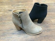 Women Ankle Stacked Heel Booties With Zipper Black Khaki Grey Color NEW Baba-02