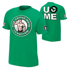 WWE Authentic John Cena Rise Above Hate Green Tee WWF Wrestling  Rollins Ambrose