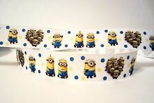 """GROSGRAIN DESPICABLE ME MINION 7/8"""" INCH RIBBON*YOUR CHOICE OF 1,3 or 5 YARDS"""
