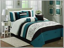 7 Pieces Luxury White & Blue KING/QUEEN Comforter Set (20718)