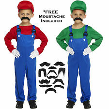 Childs Plumber Workman Fancy Dress Moustache Mario Luigi Costume Book Week Kids