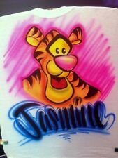 Personalized Custom Airbrushed Tigger Tshirt, Sizes 2T - Adult 2XL