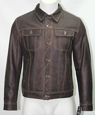 Mens 1280 Skipper Brown Trucker Stylish Classic Casual Short Real Leather Jacket