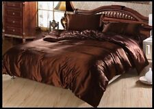 CHOCOLATE SOLID 1000TC SATIN SILK FITTED/SHEET/DUVET SET CHOOSE SIZE & ITEMS