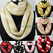 Fashion Women's Wool Knitted Striped Infinity Circle Loop Scarf Ladies Scarf New