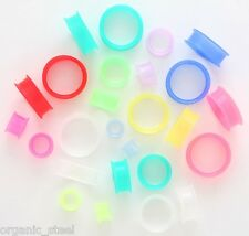GLOW IN THE DARK Coloured Silicone Thin Skinz Ear Flesh Tunnel Plug Stretcher